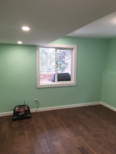 Basement Renovation- Hardwood Floor and Fresh Paint