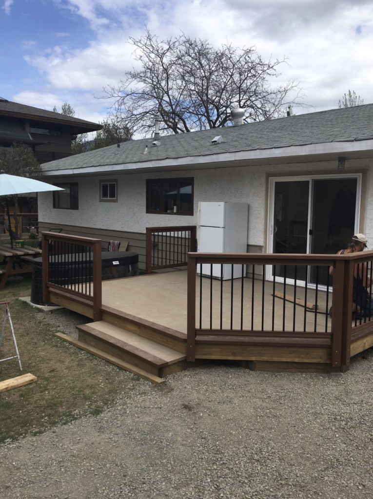 Exterior Lumber Deck With Rails